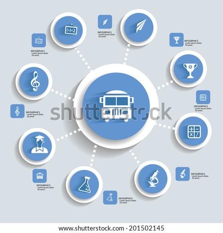 Education concept info graphics,blue vector - stock vector