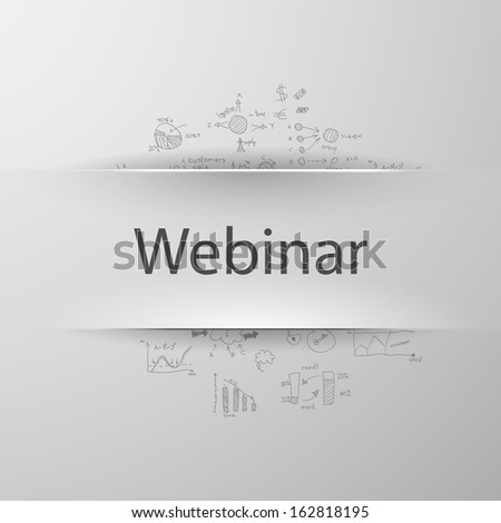Education concept: inscription WEBINAR with formulas on the background - stock vector