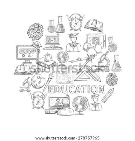 Education concept sketch with school and university study icons vector illustration - stock vector