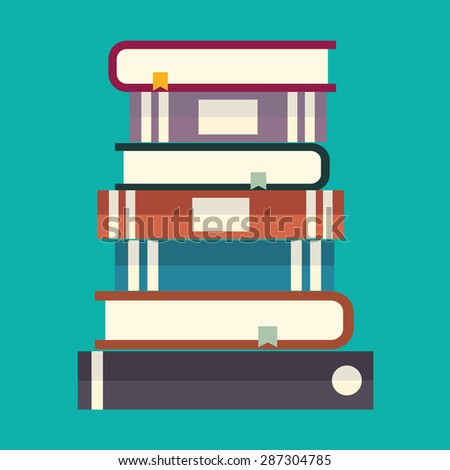 Education concept, Stack of multi colored books - stock vector