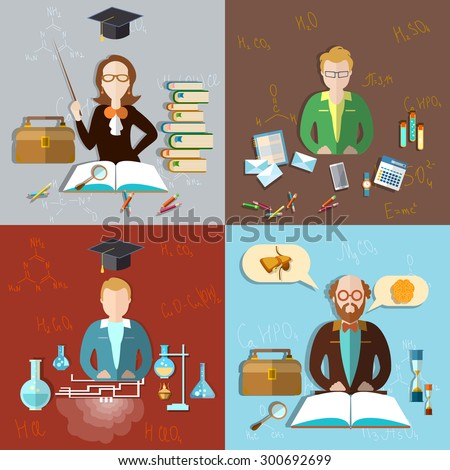 Education concept teacher classroom students teacher professor exams teaching school college university chemistry physics mathematics algebra vector illustration - stock vector