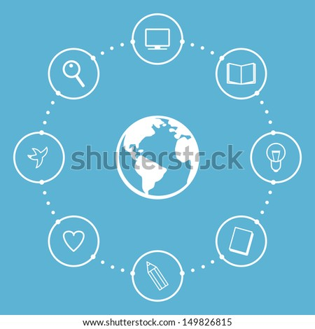 Education Concept with Globe and Icons. Vector illustration - stock vector