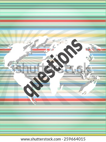 Education concept: words Questions on digital background - stock vector