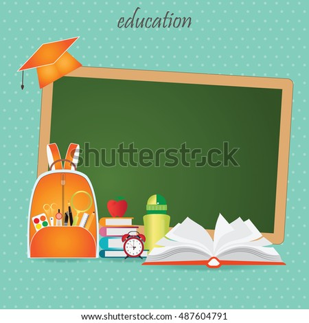 Education design background with school bag, open book, back to school creative conceptual, Modern template Design Vector illustration.