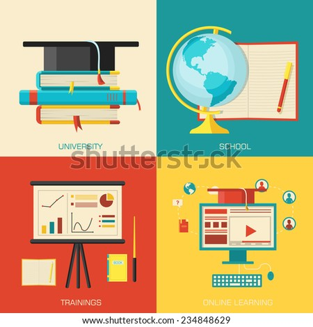 Education distance, online and academic school variations concept backgrounds in retro flat style design. Vector web and mobile application illustrations - stock vector