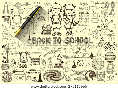 Education doodles,back to school concept on paper with 3d fountain pen. - stock vector