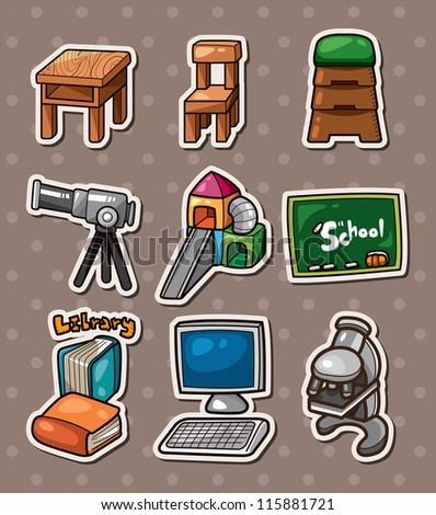 Education element stickers - stock vector