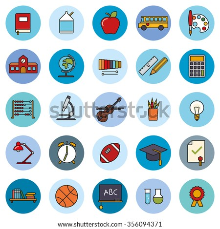 Education filled line icons Collection. Set of school, college and university related symbols on blue circles - stock vector