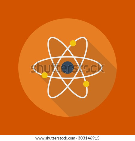 Education Flat Icon With Long Shadow. Atom - stock vector