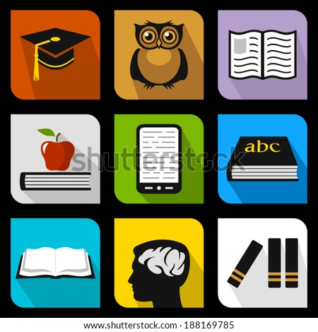 Education flat icons - stock vector