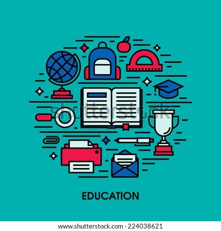 Education flat line icons. Creative design elements - stock vector