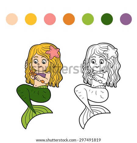 Education game for children: coloring book (mermaid and comb) - stock vector