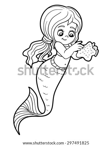 Education game for children: coloring book (mermaid and sea star) - stock vector