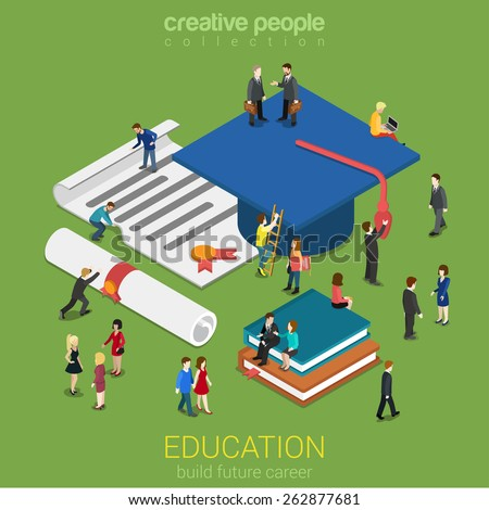 Education graduation license certificate flat 3d web isometric infographic concept vector. Micro people with big graduate cap books cert. Creative people collection. - stock vector