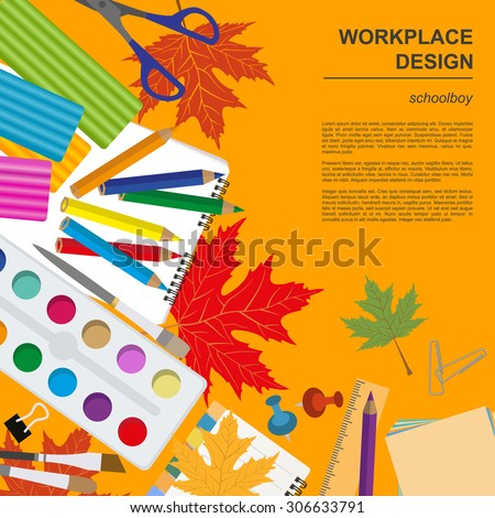Education graphic template. Schoolboy workplace mock up for creating your own design, infographics, banners. Vector illustration with place for text.  - stock vector