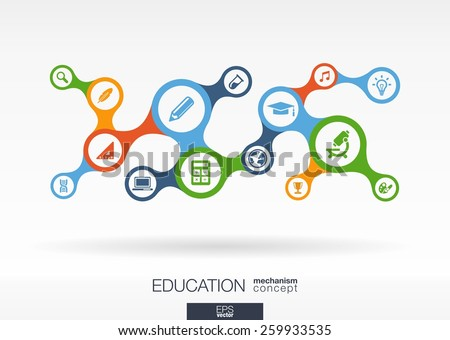 Education. Growth abstract background with connected metaball and integrated icons for elearning, knowledge, learn, analytics, network, social media, global concepts. Vector interactive illustration - stock vector