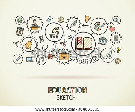 Education hand draw integrated icons set on paper. Colorful vector sketch infographic circle illustration. Connected doodle pictograms: social, elearn, learning, media, knowledge interactive concepts - stock vector