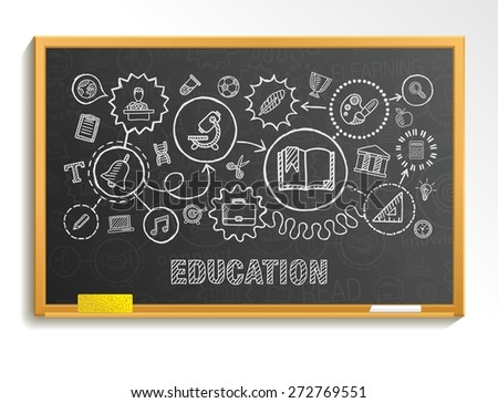 Education hand draw integrated icons set on school board. Vector sketch infographic circle illustration. Connected doodle pictograms: social, elearn, learning, media, knowledge interactive concepts - stock vector