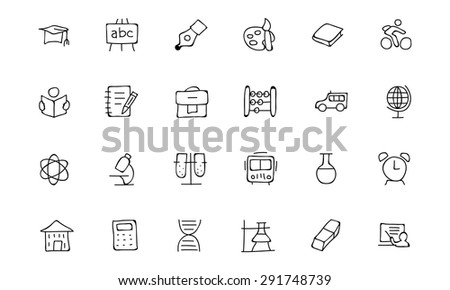 Education Hand Drawn Doodle Icons 1 - stock vector