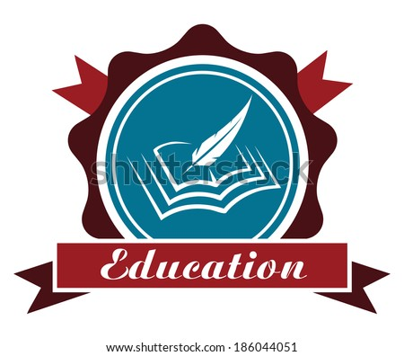 Education icon or emblem logo with a round rosette enclosing a book and feather quill over a ribbon banner with the word - Education - in maroon and blue isolated on white - stock vector