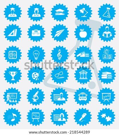 Education icon set,blue version,clean vector - stock vector