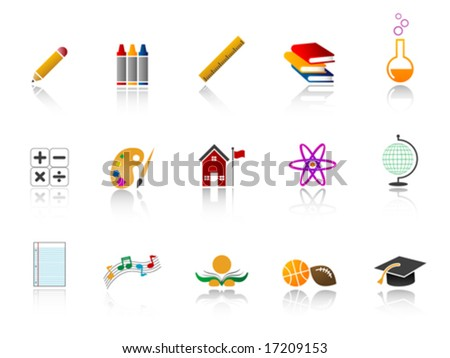 Education Icon Set - Color version - stock vector