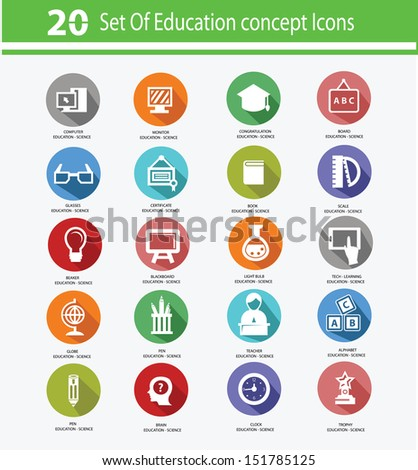 Education icon set,Colorful version,vector - stock vector