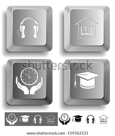 Education icon set. Headphones, clock in hands, graduation cap, library. Computer keys. Vector illustration. - stock vector