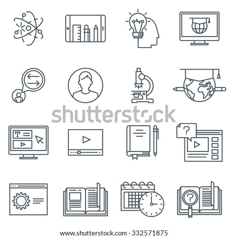 Education icon set suitable for info graphics, websites and print media. Black and white flat line icons. - stock vector