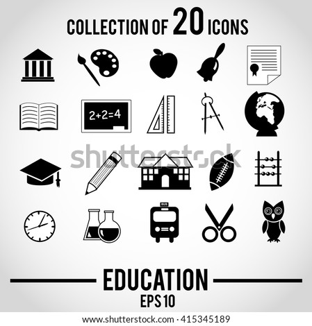 Education icon set. Vector icons isolated on white background.