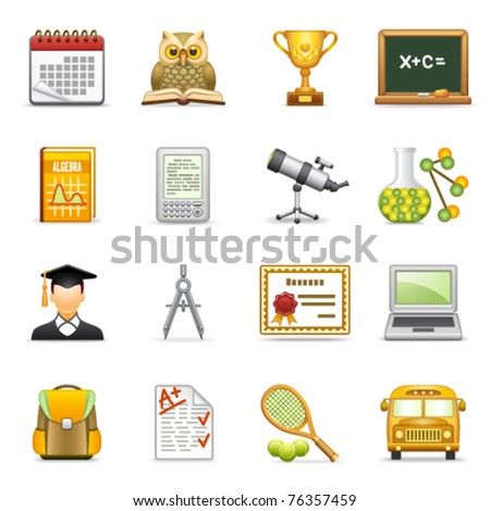 Education icons. - stock vector
