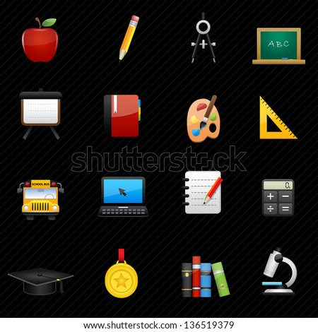 Education Icons and black background