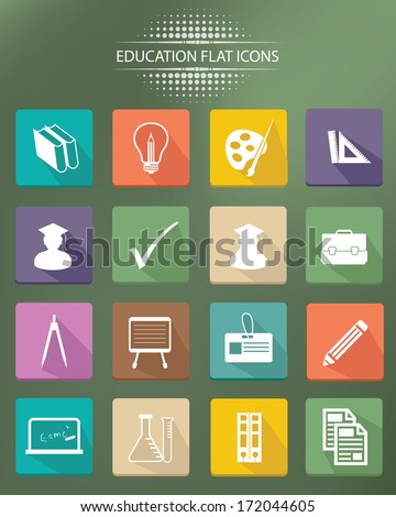 Education icons,Colorful version,vector - stock vector
