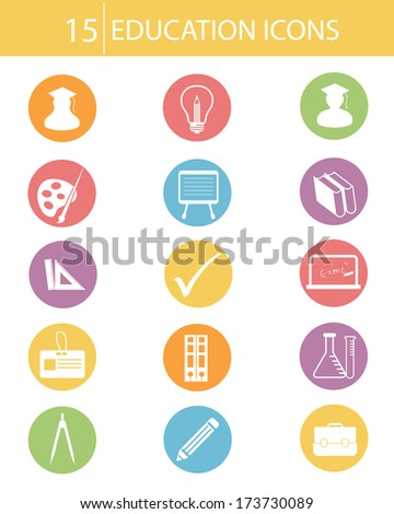 Education icons,Colorful version,vector