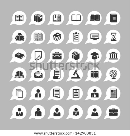 Education icons for app - stock vector