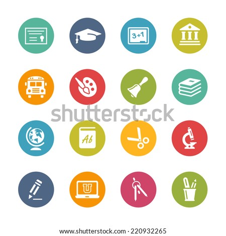 Education Icons // Fresh Colors -- Icons and buttons in different layers, easy to change colors. - stock vector