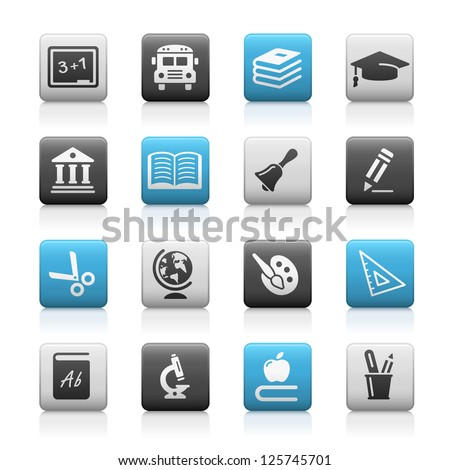 Education Icons // Matte Series - stock vector