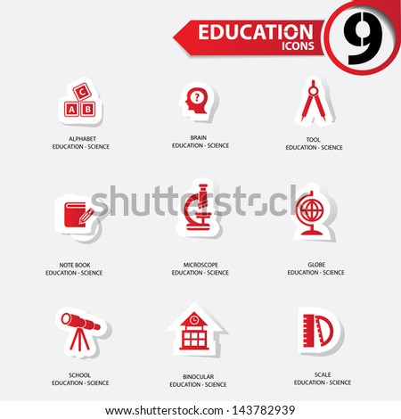Education icons,Red version,vector - stock vector