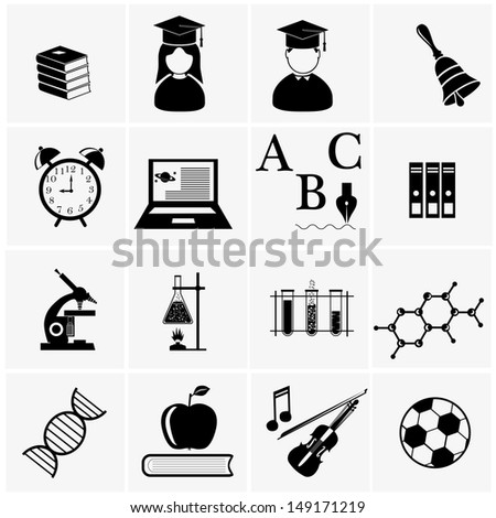 Education icons.Science icons set  - stock vector
