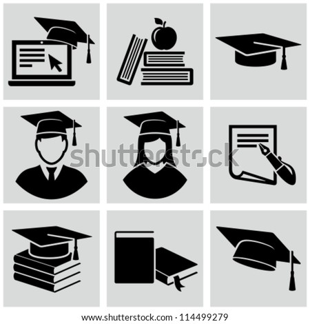 Education icons set. - stock vector