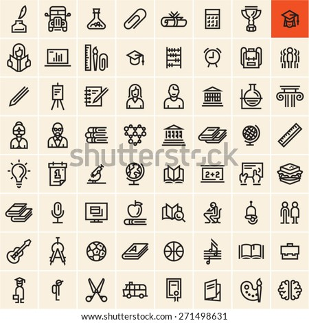 Education icons set. Back to school concept linear vector icons isolated on black background. Office supplies. - stock vector