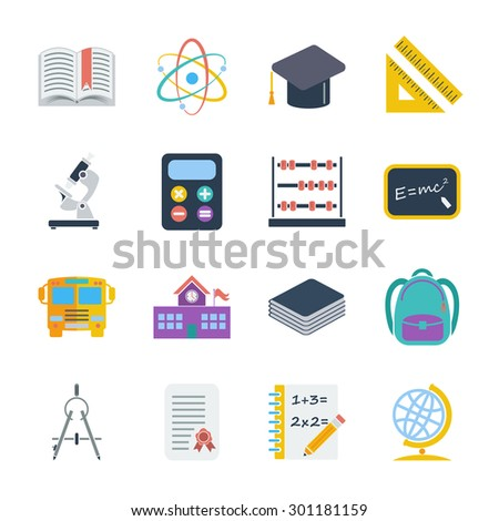 Education icons set. Flat vector related icons set for web and mobile applications. It can be used as - logo, pictogram, icon, infographic element. Vector Illustration.  - stock vector