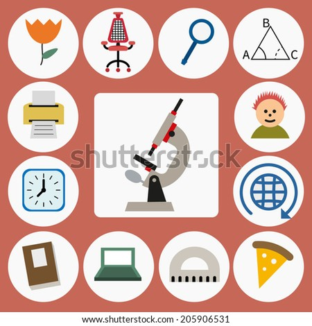 Education icons set, isolated elements,vector illustration. Back to school - stock vector