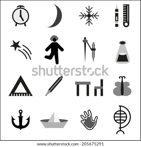Education icons set, isolated elements,vector illustration. Back to school black and white - stock vector