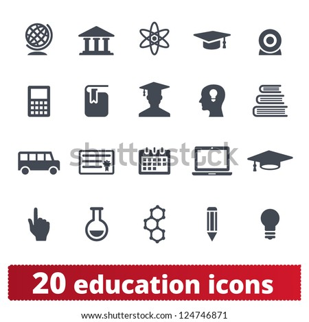 Education icons: vector set of elementary school and university signs - stock vector