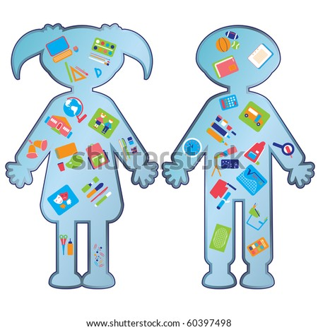 education icons with schoolboy and schoolgirl - stock vector