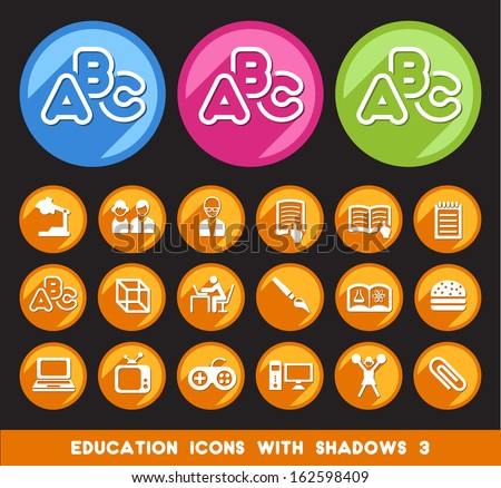 Education Icons with Shadows 3.  - stock vector