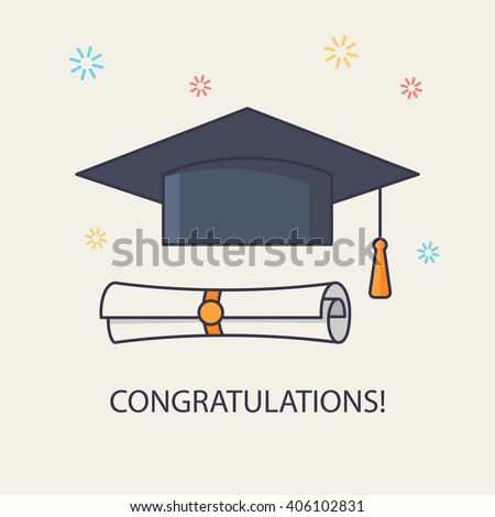 Education illustration. Graduation elements for high school or college design, announcement, invitation, greeting card. Isolated graduation cap and diploma icons. Mortar Board. - stock vector