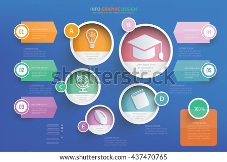 Education info graphic design on blue background,vector - stock vector