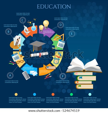 Education infographic diagram, open book of knowledge, back to school vector template. Time to education.